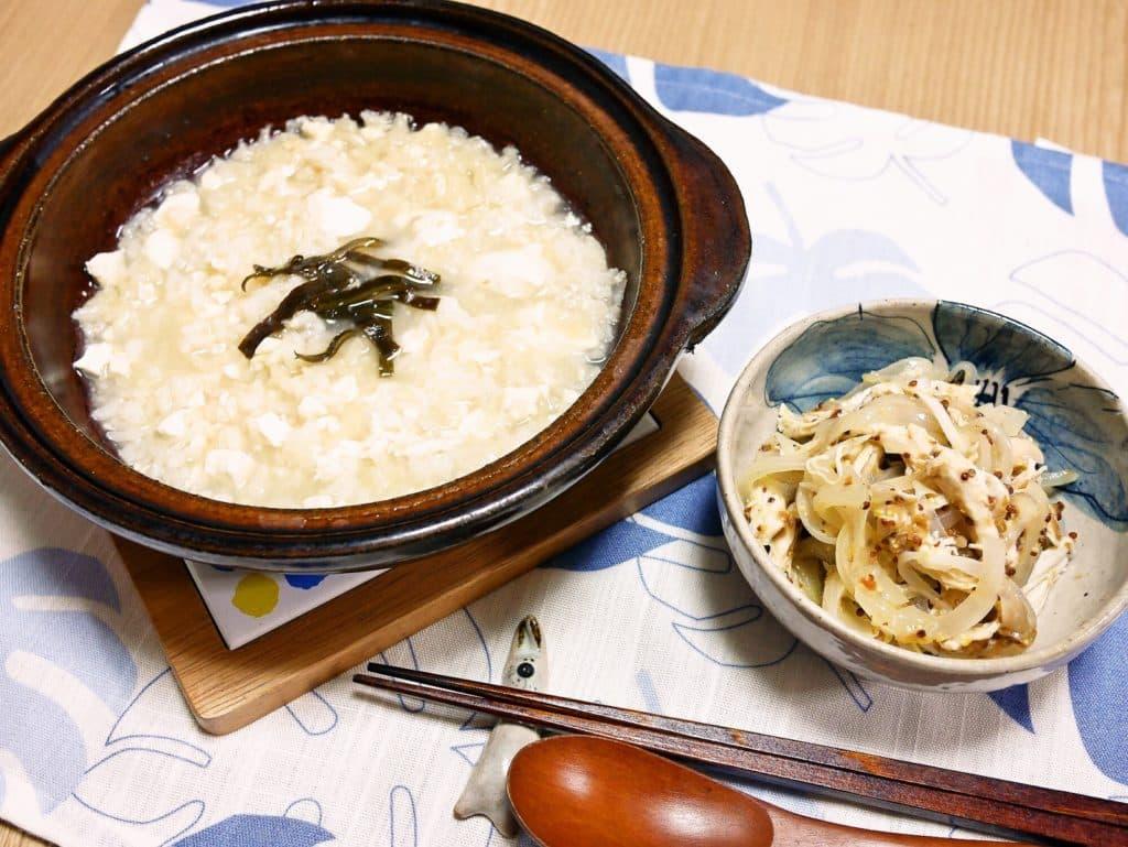 サラダチキンの梅マスタード和え&豆腐入り雑炊